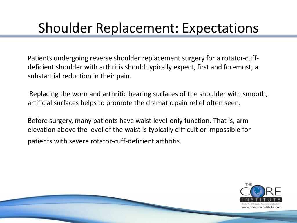 Shoulder Replacement: Expectations
