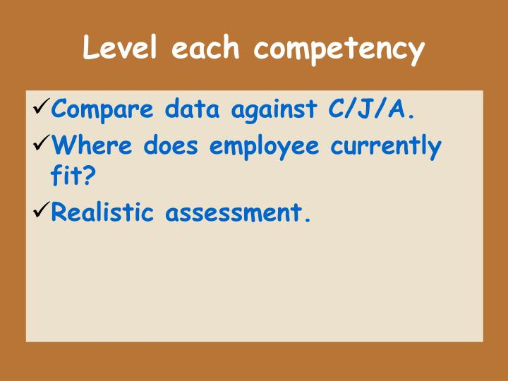 Level each competency