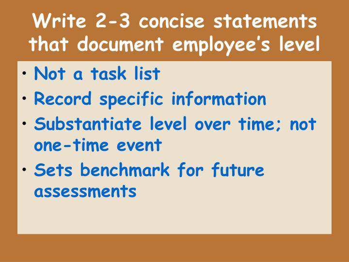 Write 2-3 concise statements that document employee's level