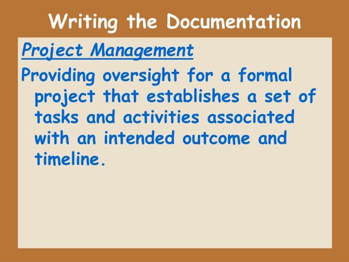 Writing the Documentation
