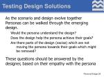 testing design solutions