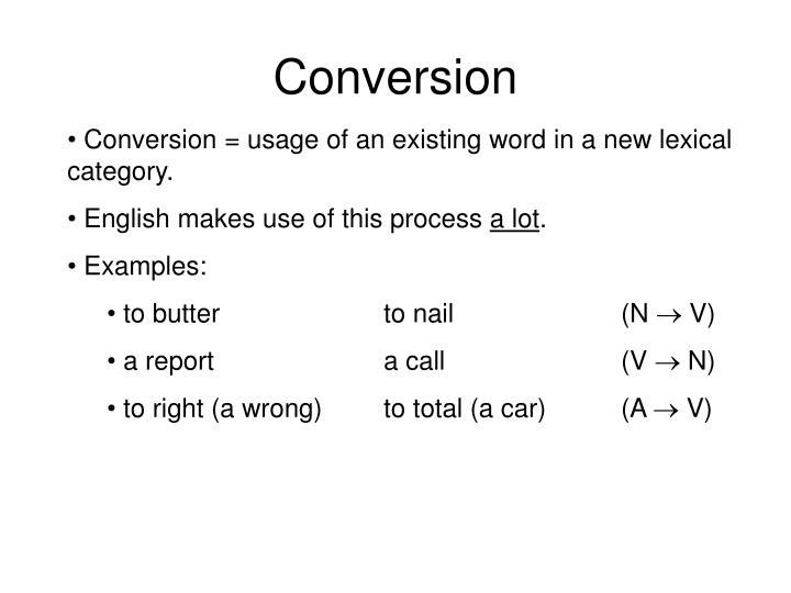 Word conversion examples