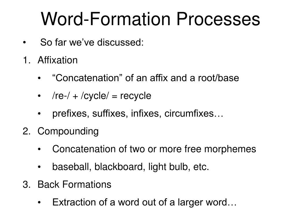 PPT - Morphology, Part 4: Word-Formation Processes +