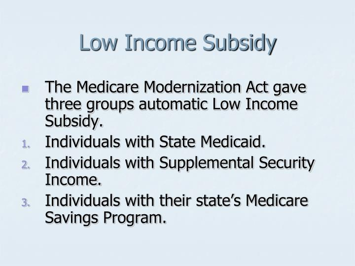 Low Income Subsidy