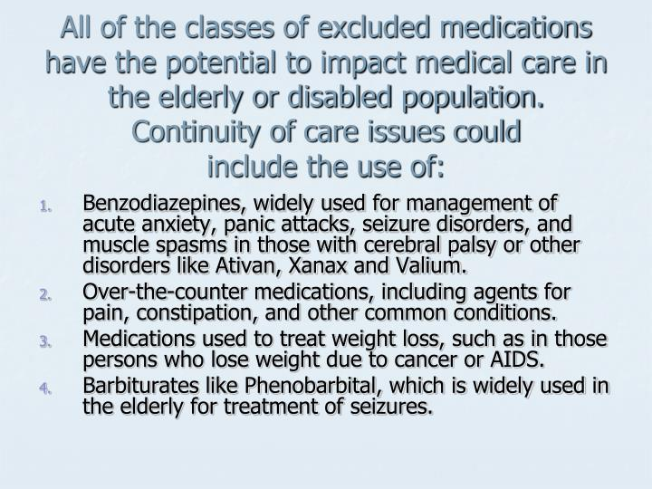 All of the classes of excluded medications have the potential to impact medical care in the elderly or disabled population.  Continuity of care issues could