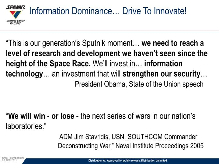 Information Dominance… Drive To