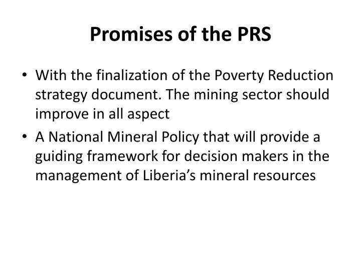 Promises of the PRS