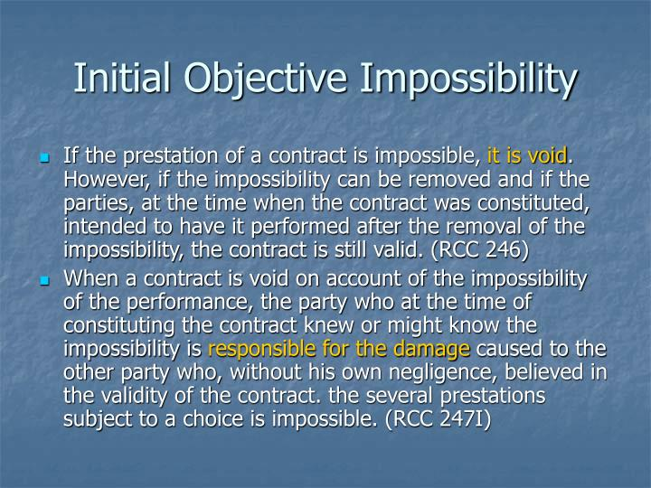 Initial Objective Impossibility
