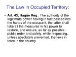 the law in occupied territory