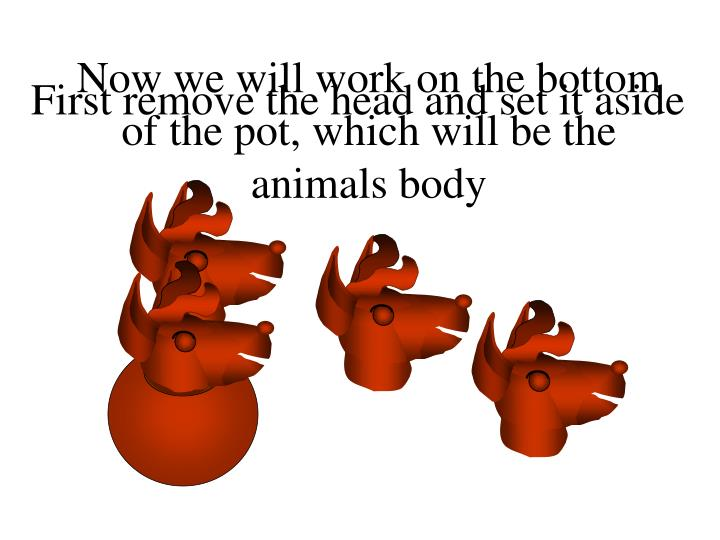 Now we will work on the bottom of the pot, which will be the animals body