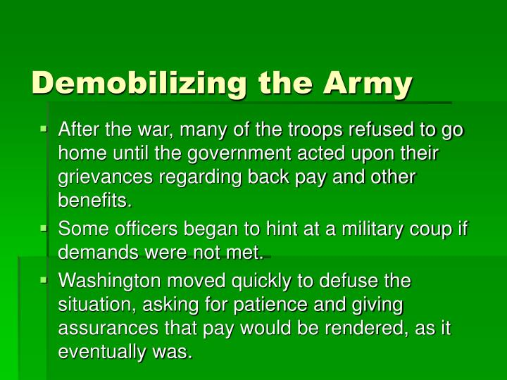 Demobilizing the army
