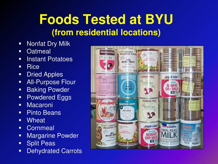 Foods Tested at BYU