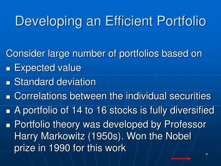 Developing an Efficient Portfolio