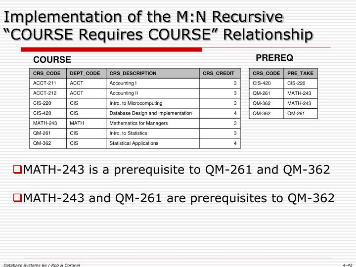 "Implementation of the M:N Recursive ""COURSE Requires COURSE"" Relationship"