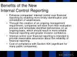 benefits of the new internal control reporting