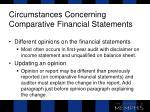 circumstances concerning comparative financial statements