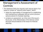 management s assessment of controls
