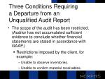 three conditions requiring a departure from an unqualified audit report