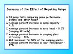 summary of the effect of repairing pumps
