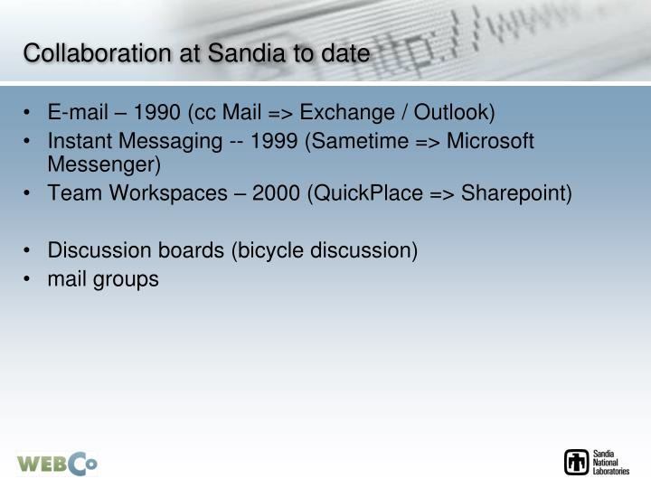 Collaboration at Sandia to date