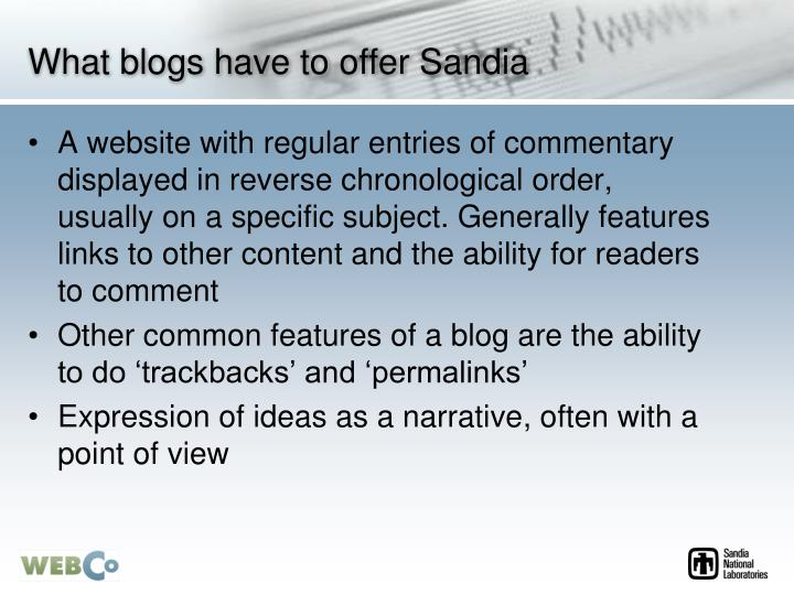 What blogs have to offer Sandia