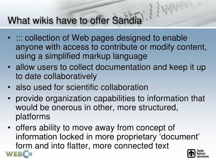 What wikis have to offer Sandia