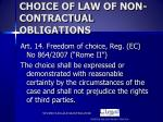 choice of law of non contractual obligations