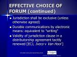 effective choice of forum continued