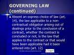 governing law continued