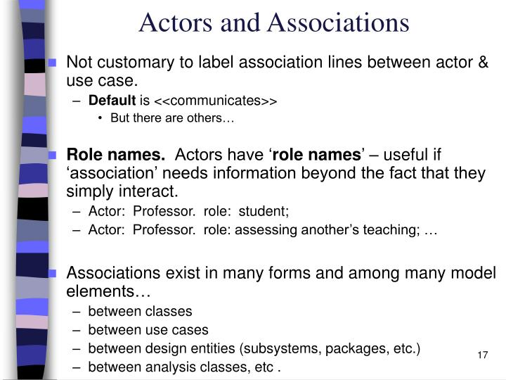 Actors and Associations