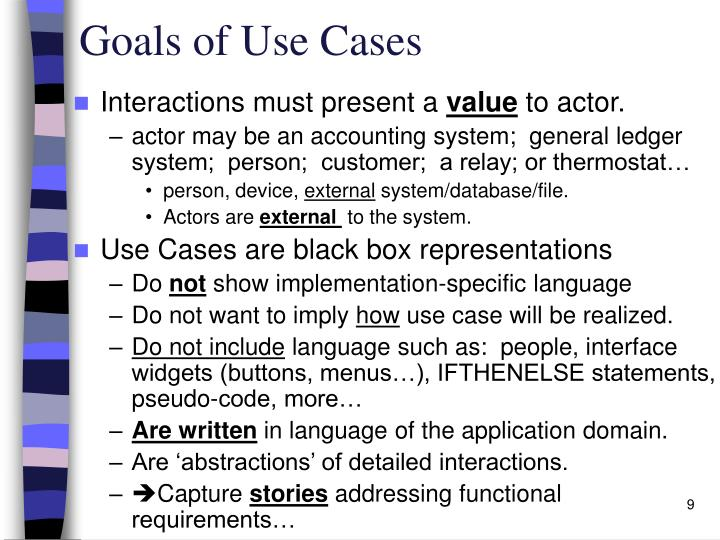 Goals of Use Cases