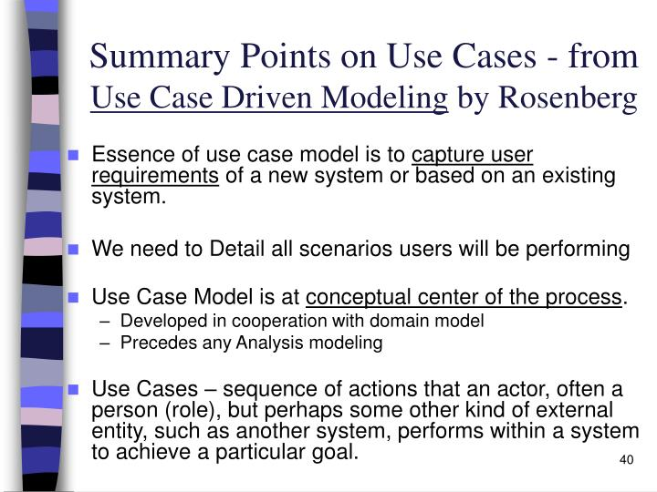 Summary Points on Use Cases - from