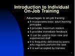 introduction to individual on job training1