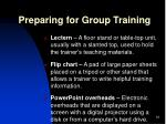 preparing for group training1