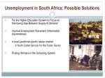 unemployment in south africa possible solutions
