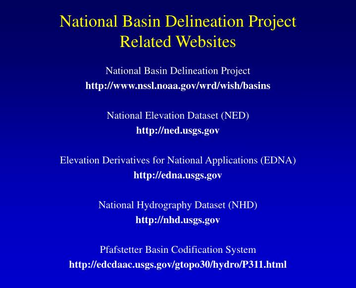 National Basin Delineation Project Related Websites