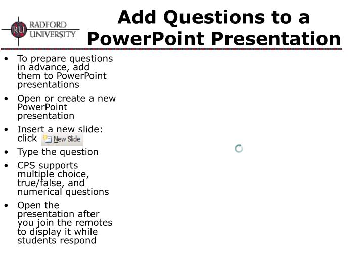 Add Questions to a PowerPoint Presentation