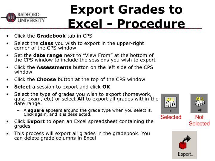 Export Grades to Excel - Procedure