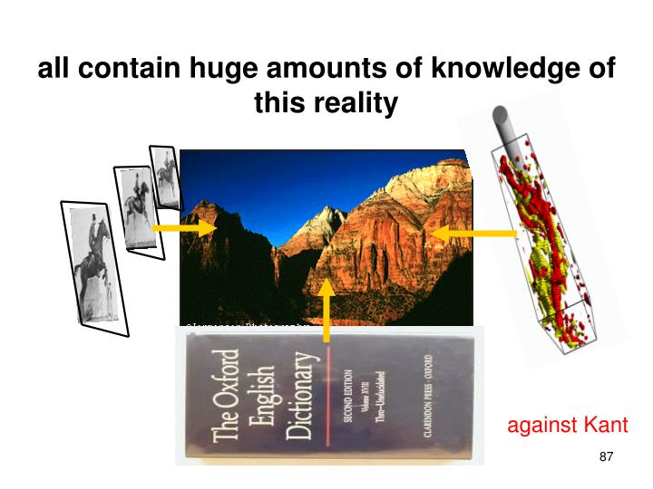 all contain huge amounts of knowledge of this reality