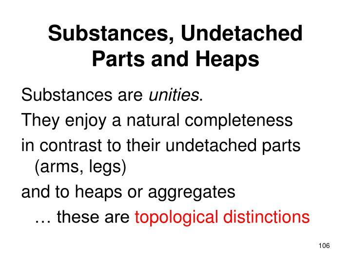 Substances, Undetached Parts and Heaps
