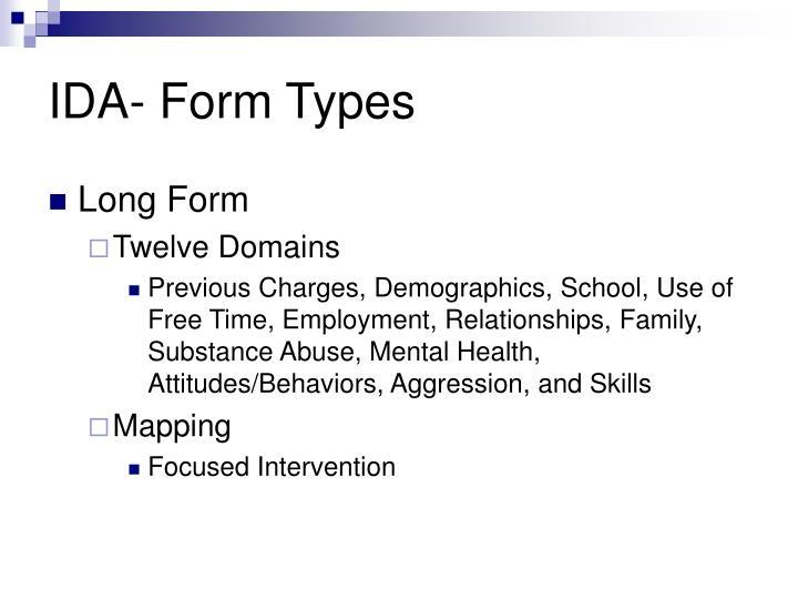 IDA- Form Types