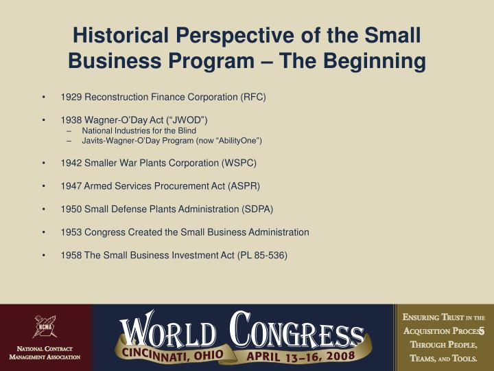 Historical Perspective of the Small Business Program – The Beginning