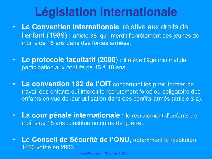 Législation internationale