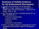 summary of validity evidence for iq achievement discrepancy