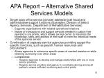 apa report alternative shared services models