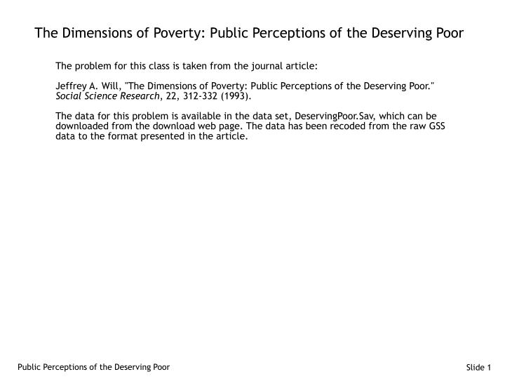 the dimensions of poverty public perceptions of the deserving poor n.