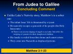 from judea to galilee concluding comment