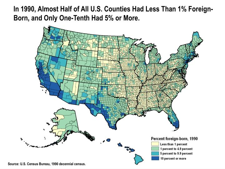 In 1990, Almost Half of All U.S. Counties Had Less Than 1% Foreign-Born, and Only One-Tenth Had 5% or More.
