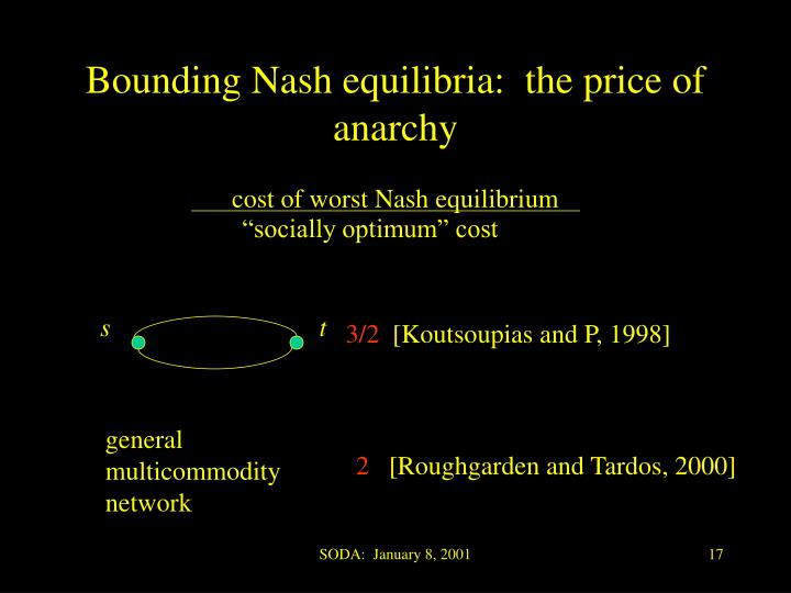 Bounding Nash equilibria:  the price of anarchy