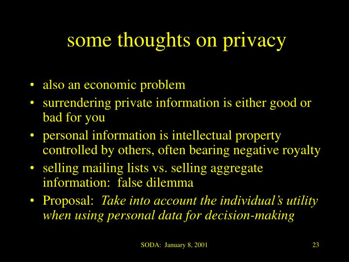 some thoughts on privacy